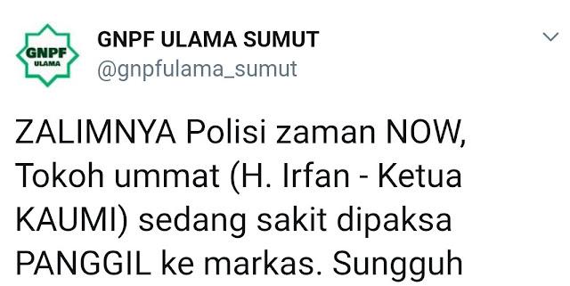 Ketua KAUMI Sumut, Ustadz Irfan Dikabarkan Dipanggil Paksa Poldasu dalam Kondisi Sakit