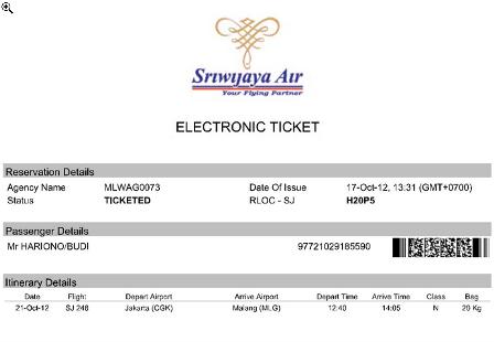 Contoh Tiket Elektronik Sriwijaya Air E Ticket Sriwijaya Air