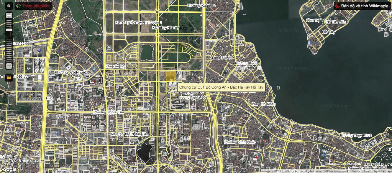Vị trí của chung cư C51 Tây Hồ Tây.