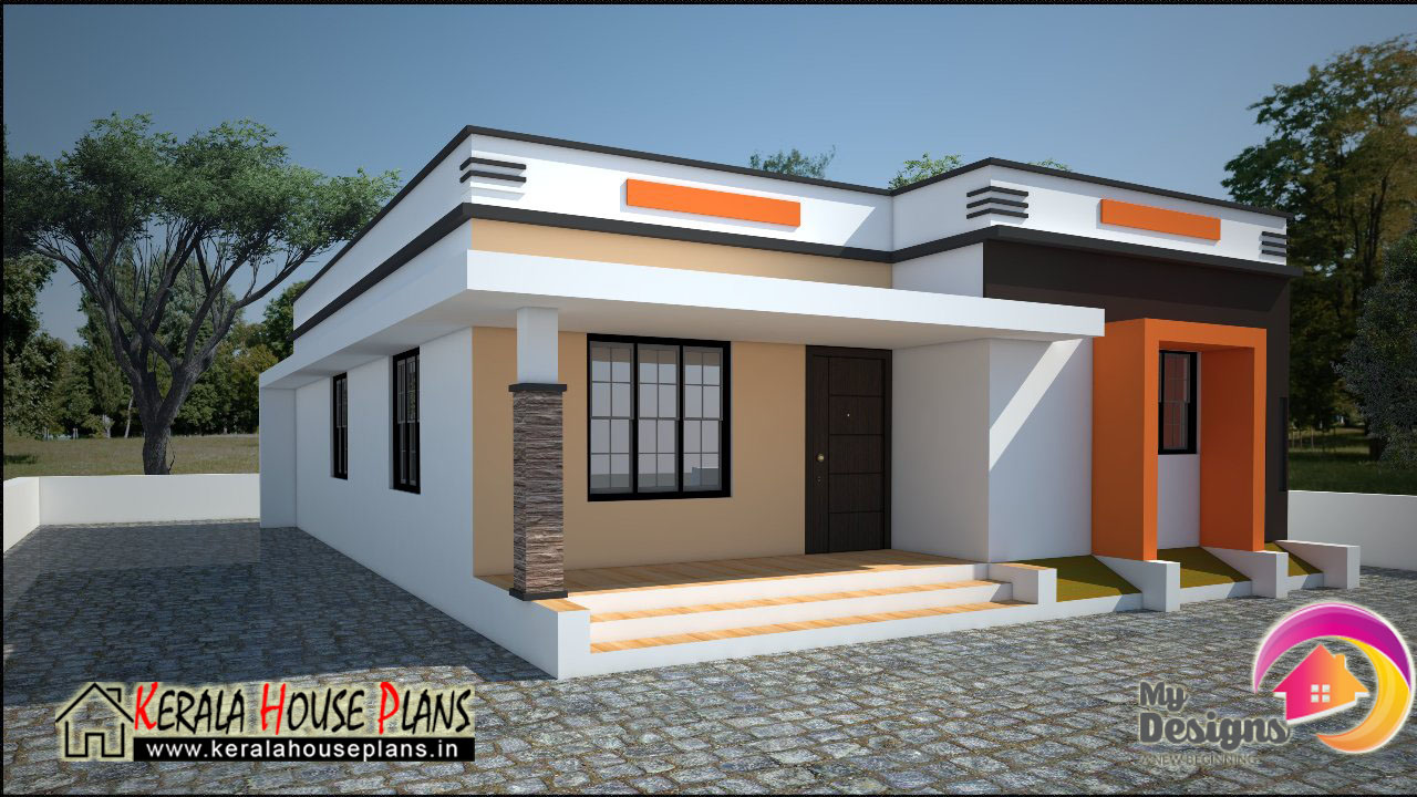Low cost house in kerala 668 sqft kerala house plans for Kerala house plan images