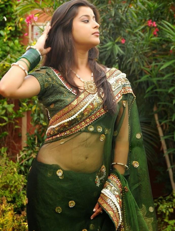 Indian Hot Actress Madhurima Hot Navel Show In Green Saree-5707
