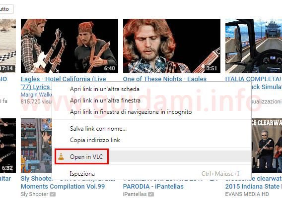 Opzione Open in VLC menu contestuale Chrome