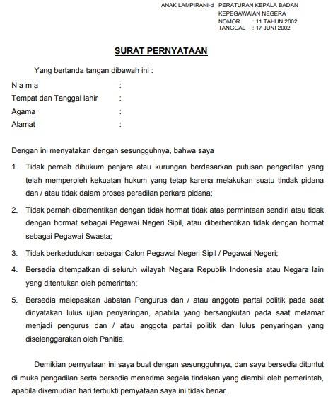 gambar contoh surat pernyataan perka bkn no 11 tahun 2002