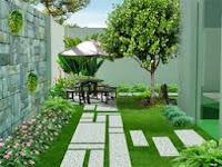 Thiết kế sân vườn bằng cỏ nhân tao