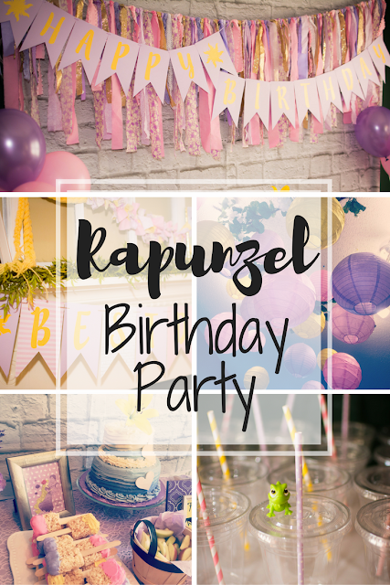 Rapunzel kids birthday party decoration ideas. Food and drinks. Table decorations and food table backdrop. Tangled party kids activities and games, Rapunzel cake and desserts. Welcome chalkboard sign. Party centerpieces. Rapunzel party invitations. Paper lanterns. Party favors. Happy Birthday banner