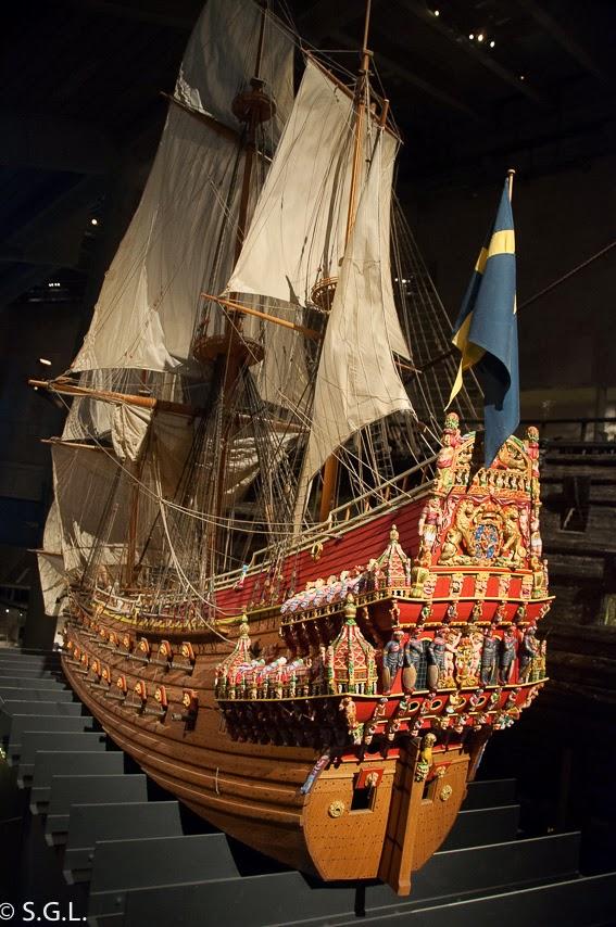 Maqueta del Vasa, un galeon del S. XVII en Estocolmo