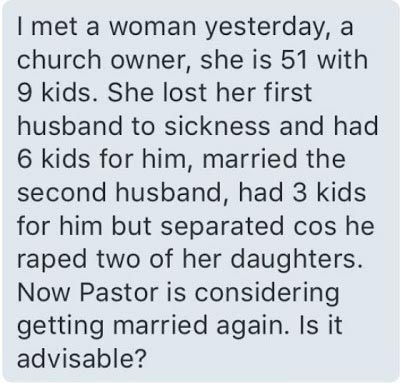 Dearies, what would you advise this 51-year-old woman who wants 3rd marriage?