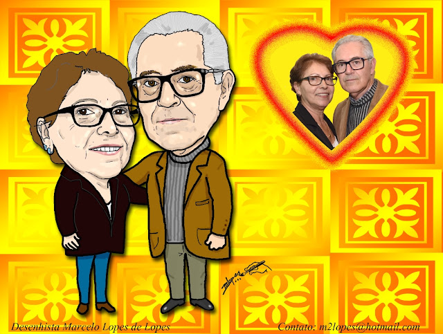 Caricatura de casal - Desenhista Marcelo Lopes de Lopes