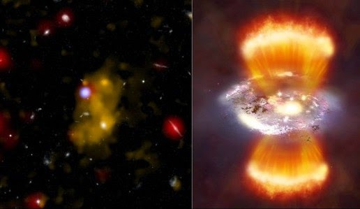 A galaxy Lyman alpha emitters (left) and an illustration of what may be seen when viewing these galaxies from a relatively close distance (right) through the Chandra X-ray observatory