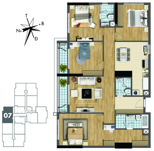 Mặt bằng căn hộ 4 phòng ngủ TNR Goldmark City