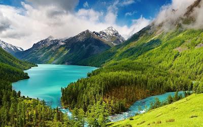 تحميل خلفيات سطح المكتب لغابة بها بحيرة ماء زرقاء