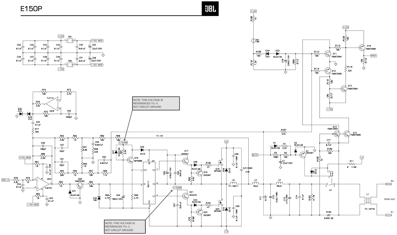hight resolution of jbl 10 inch powered subwoofer e150p northridge e series circuit jbl powered subwoofer schematic diagram