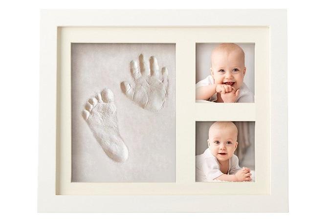 marco de huellas de mano y pie para bebé
