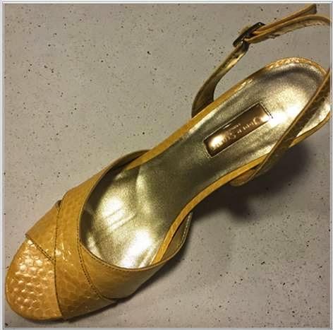 Upper Street Yellow Snakeskin Sling back sandals