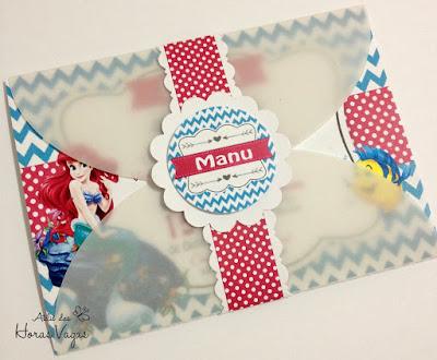 convite artesanal aniversário infantil personalizado diferente festa 1 ano aninho princesa ariel pequena sereia fundo do mar envelope papel vegetal delicado menina scrap scrapbook