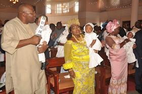 2d - Bayelsa Governor, Seriake Dickson and wife, Rachael dedicate their quadruplets in Church (photos)