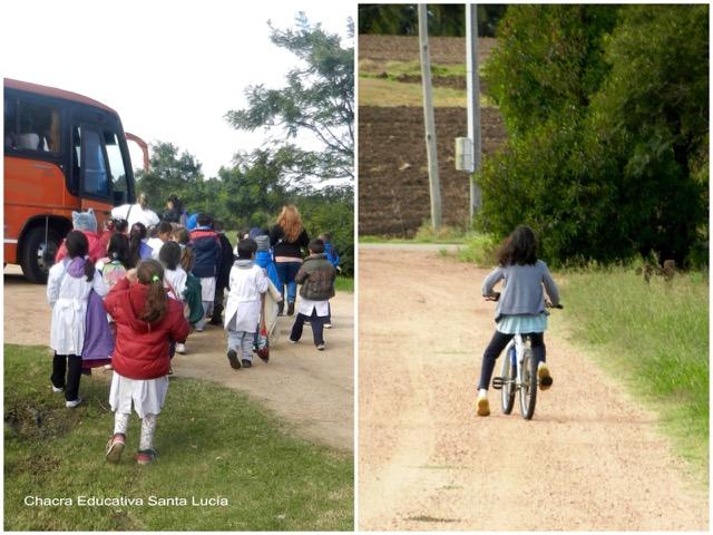 Alumnos subiendo al ómnibus escolar / Niña andando en bicicleta- Chacra Educativa Santa Lucía