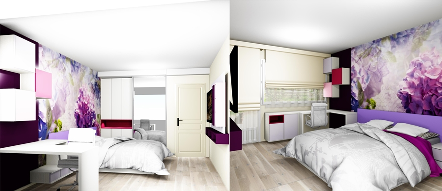 design interior camera tineret pentru fete