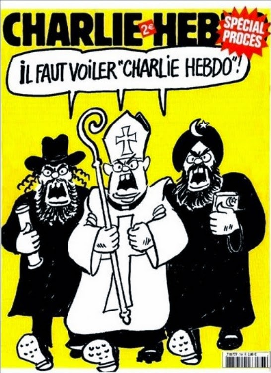 CHARLIE HEBO cover mocking religion - Rabbi, Pope and Imam