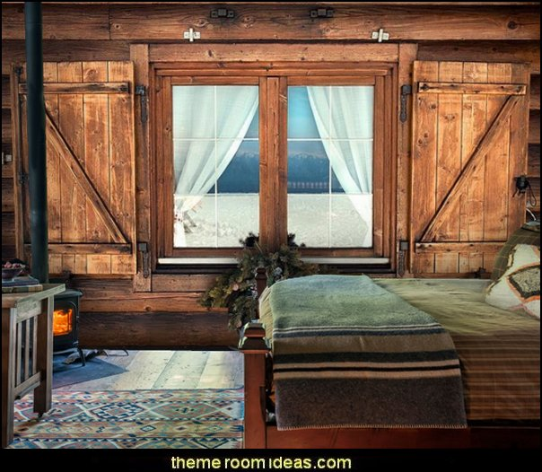 Chalet Window wallpaper mural Ski cabin decorating - ski lodge decor - winter cabin decorating ski resort bedroom ideas - winter wall murals - ski chalet theme bedroom decorating ideas - modern rustic style winter cabin decor - Swiss alps decoration Alpine theme decorating - adventure bedroom design ideas - ski alps
