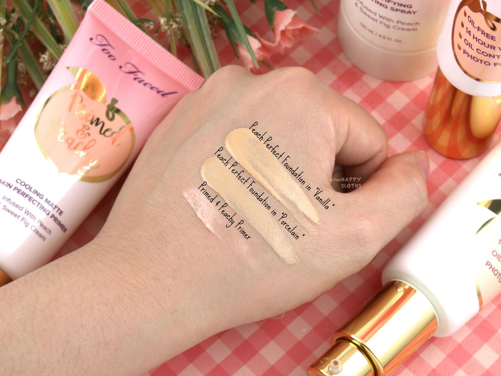 Too Faced Peaches & Cream Collection   Primed & Peachy Primer & Peach Perfect Comfort Matte Foundation: Review and Swatches