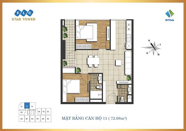 thiết kế căn hộ flc star tower 72,68m2