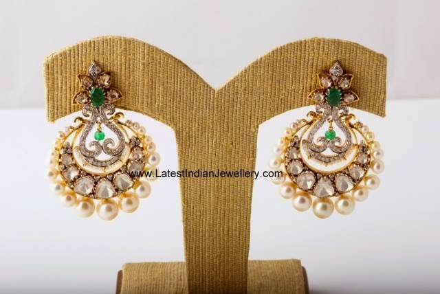 Polki and Emerald Chand Bali earrings