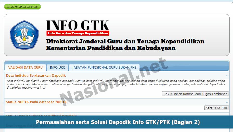 Permasalahan serta Solusi Dapodik Info GTKPTK