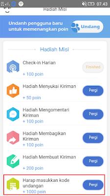 cara masukan kode undangan di aplikasi iMeme Android