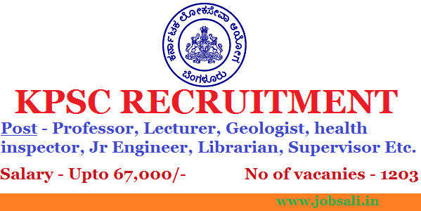 KPSC Recruitment 2017, KPSC Notification, Govt jobs in Karnataka
