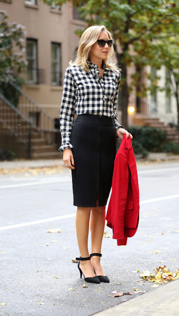 Checked shirt with pencil skirt