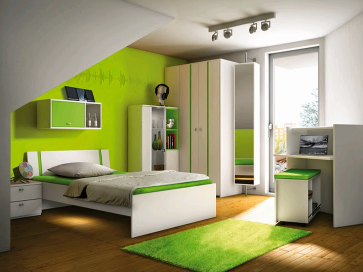 Habitaciones para adolescentes color verde ideas para for Decorar habitacion juvenil pequena