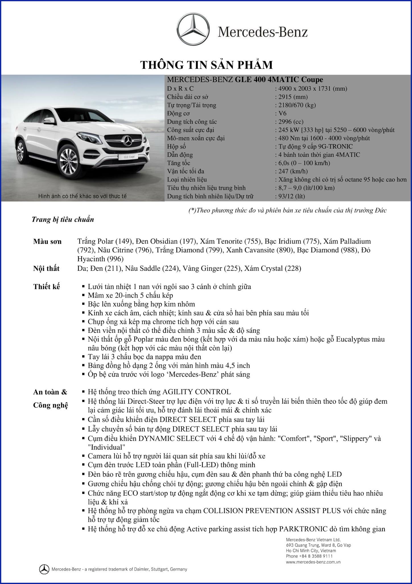 Bảng thông số kỹ thuật Mercedes GLE 400 4MATIC Coupe 2019 tại Mercedes Trường Chinh