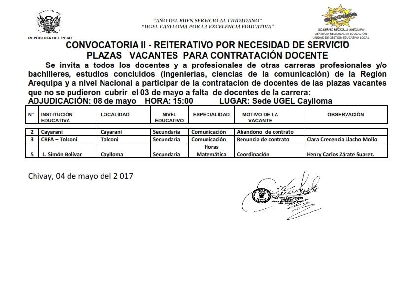 M s en ugel caylloma for Convocatoria de plazas docentes 2017