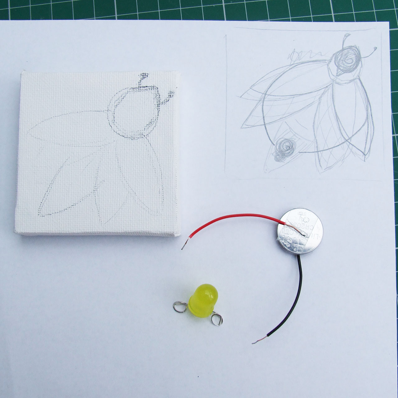 Simple Circuit Canvas Creature Project For Kids Led Circuits And Projects Blog Light I Wanted My Electronics Battery Leads To Be Visible On The Front Of Bug Drawing Was Designed Around