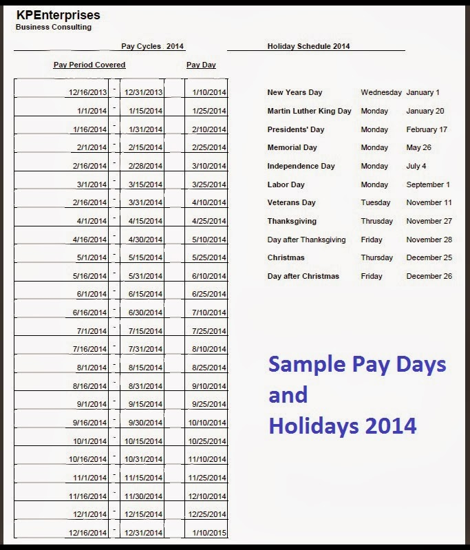 sop friday next year s holiday and pay schedule the channelpro
