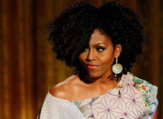 Michelle Obama Rocking Natural Afro Hairdo
