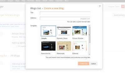 Panduan Cara Membuat Blog Gratis Di Blogspot/Blogger