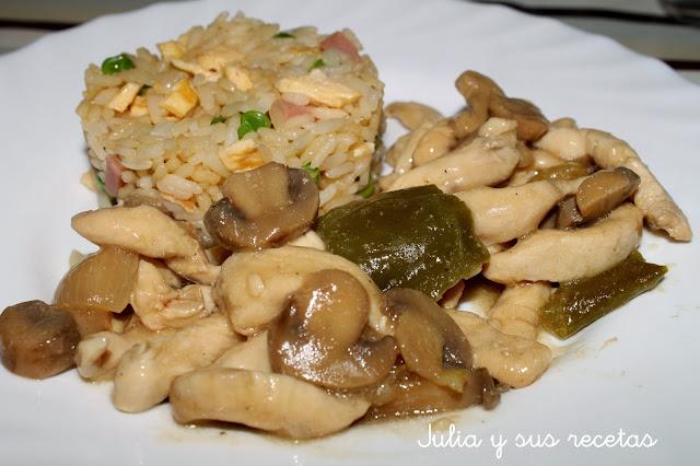 Pollo con champiñones chino. Julia y sus recetas