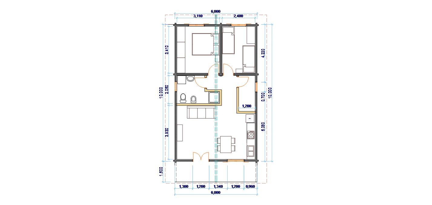 Progetti di case in legno CASA 60 MQ  PORTICO 9 MQ