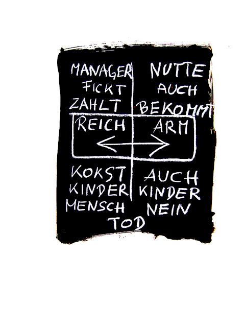 Kris Scheisse! 2008, Manager versus Nutte, 100 x 70cm