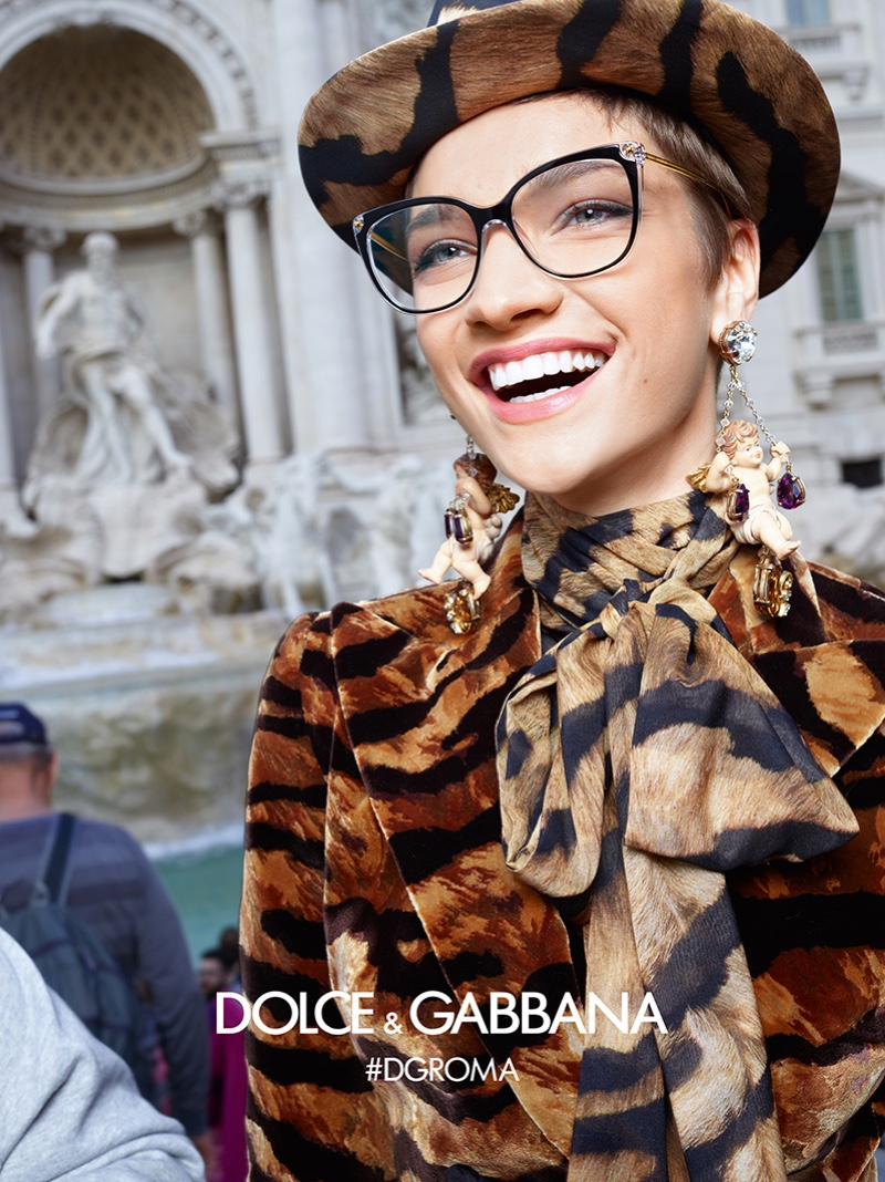 Sija Titko is all smiles in Dolce & Gabbana Eyewear fall-winter 2018 campaign