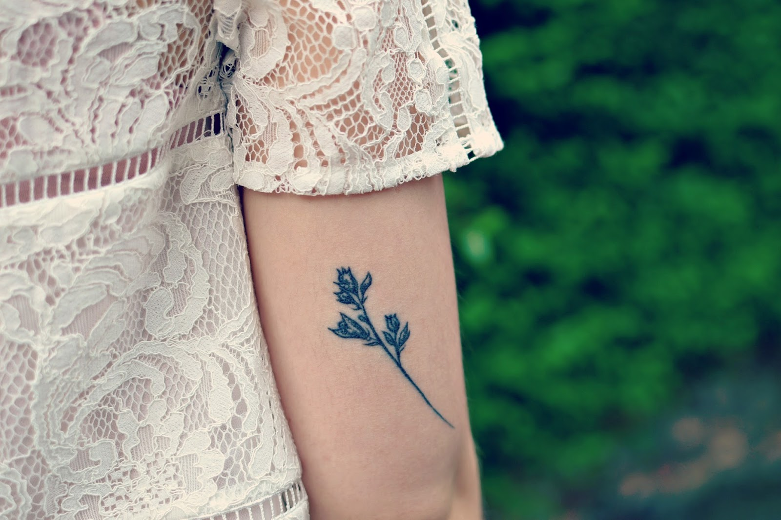 botanical lavender floral tattoo