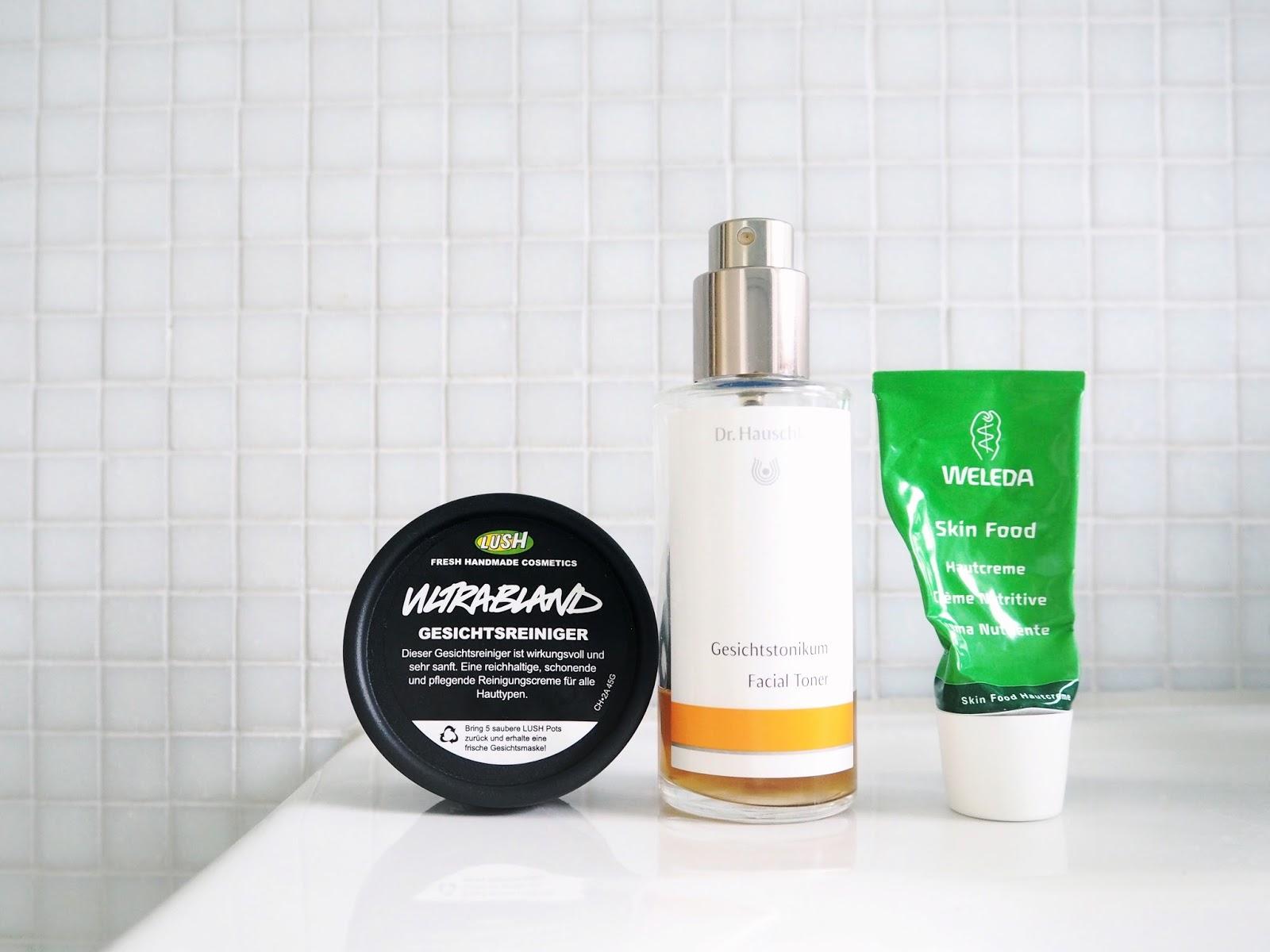My Minimal Morning Skincare Routine, minimal skincare, cleanser, lush ultrabland, toner, dr hauschka, facial toner, moisturiser, weleda, skin food, review
