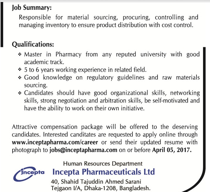 Incepta Pharmaceuticals Ltd - Assistant Manager, Supply Chain