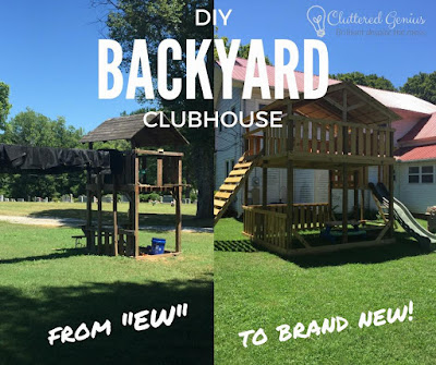 Blog With Friends, multiple projects based on the theme Happiness Happens Day | Backyard Clubhouse DIY by Lydia of Cluttered Genius | Presented on www.BakingInATornado