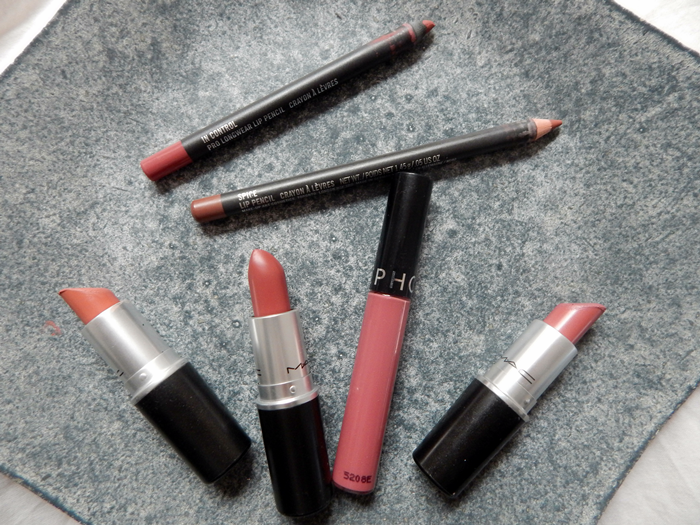 My collection + swatches of wearable nude lip colours: MAC Spice, MAC In Control, MAC Brave, MAC Kinda Sexy, MAC Twig & Sephora Cream Lip Stain in 13 Marvelous Mauve!