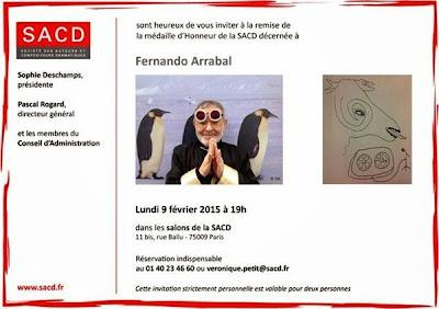 Invitación de La Sociedad de Autores Compositores y Dramáticos de París y de Fernando Arrabal
