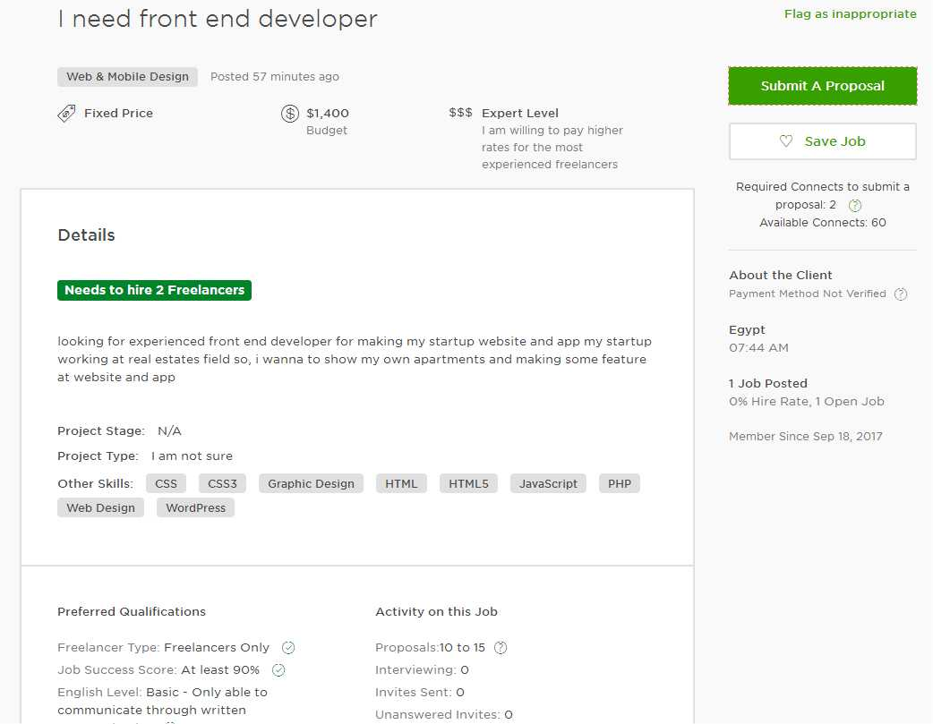 upwork cover letter sample for web developer